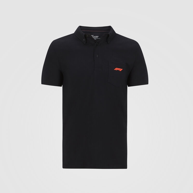 F1 FW SMALL LOGO JERSEY POLO - black