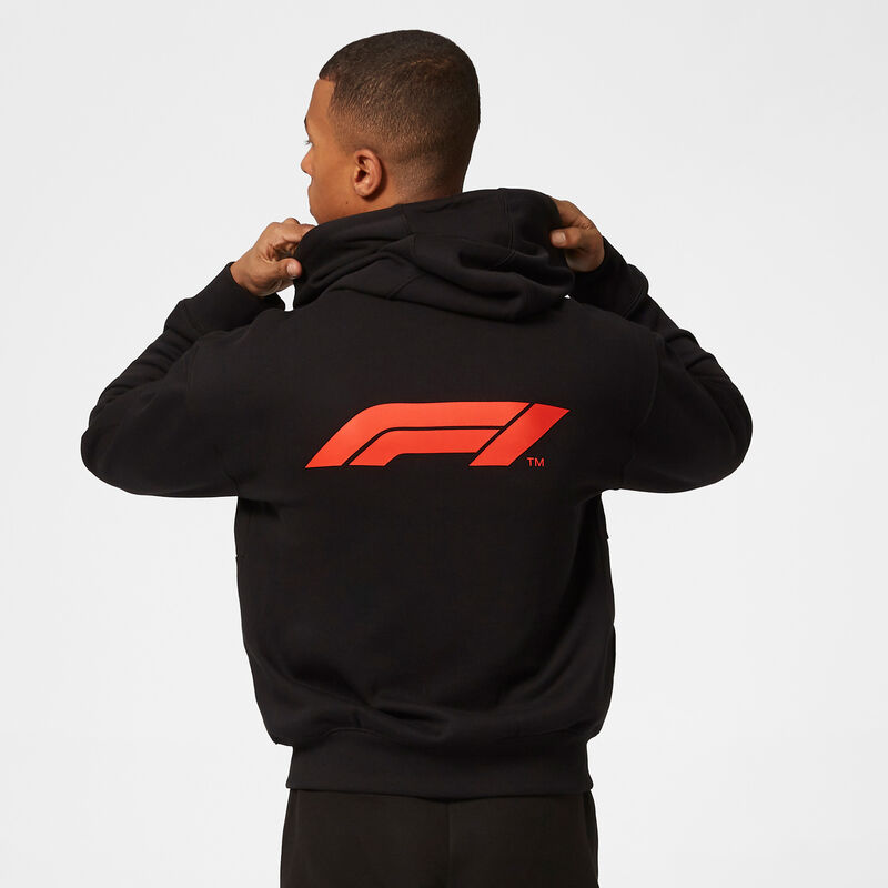 F1 FW MENS SMALL LOGO ZIP HOODED SWEAT - black